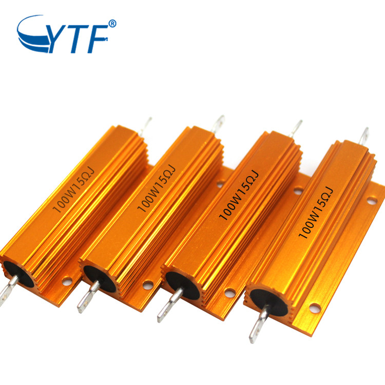 gold color aluminum resistor 100Waluminum wirewound resistor 100W 15R