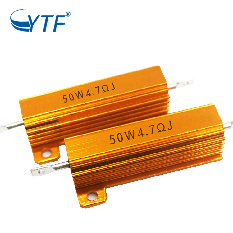 Encased Wirewound China Supply Adjustable 50w 4.7r Gold Color Aluminum Resistor