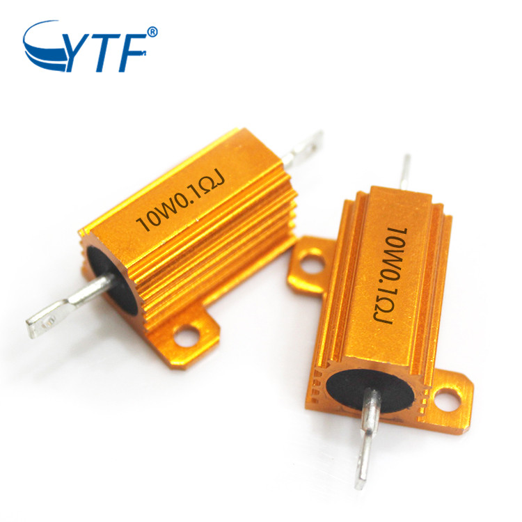 High quality golden aluminum resistor 10W 0.1R power resistor
