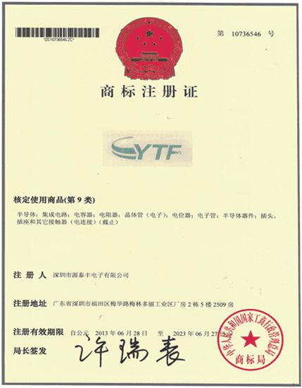 Chinese trademark registration certificate